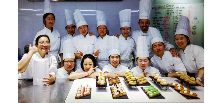 Our Pastry Chef Nicolas Guercio with students at TaoBloom in Beijing, China.