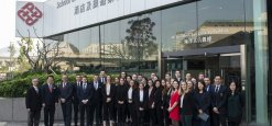The students of the Master of Science Hotel Management in front of The Polytechnic University of Hong Kong